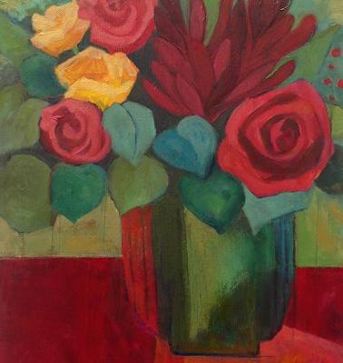 """Contemporary Abstract Still Life Flower Art Painting """"Funny Valentine"""" by Santa Fe Artist Annie O'Brien Gonzales"""