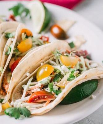 Grilled Salmon Tacos Served with Jalapeño Ranch