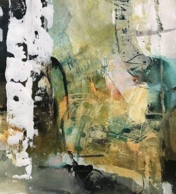 """Contemporary Abstract Landscape Art Painting """"Riding High"""" by Intuitive Artist Joan Fullerton"""