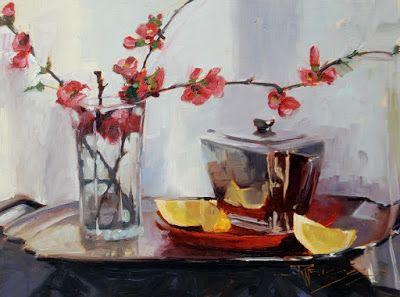 """Quince with Lemons"" Still life , oil painting by Robin Weiss"