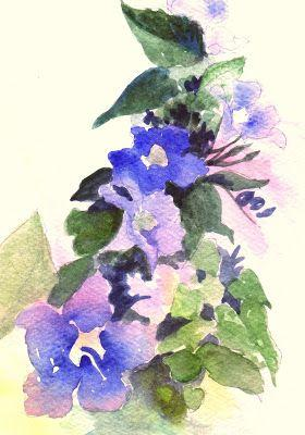 "Oil Painting, ""Sky Vine,"" 5x7 Floral Watercolor Painting, Matted"