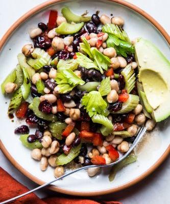 Three Bean Salad with Dried Cranberries and Celery