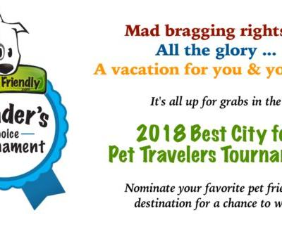 Win A Pet Friendly Vacation In The 2018 Best City For Pet Travelers Tournament!