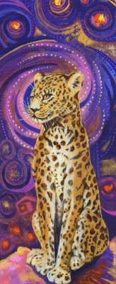 "Original Contemporary Colorful Wildlife Leopard Painting ""Leopard"" by Colorado Artist Nancee Jean Busse"
