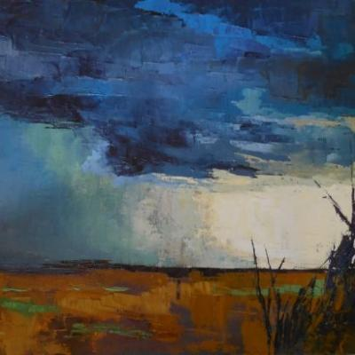 "Large Landscape Painting, Storm Painting, ""StormFront"" by Carol Schiff, 24x30x1.5"" Original Oil Painting"