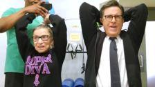 Stephen Colbert Gets 'Stupid Strong' In Epic Workout With Ruth Bader Ginsburg