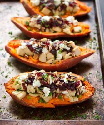 Turkey, Cranberry & Goat Cheese Stuffed Sweet Potatoes