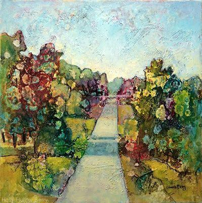 """Colorful Contemporary Landscape Painting, Trees, Pathway, Abstract Landscape, Tree, """"Open to Possibilities"""" by Passionate Purposeful Painter Holly Hunter Berry"""