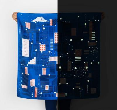 Tokyo Lights up at Night in New Glow-In-The-Dark Furoshiki Scarf