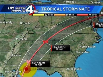 Nate strengthens to a Category 1 Hurricane