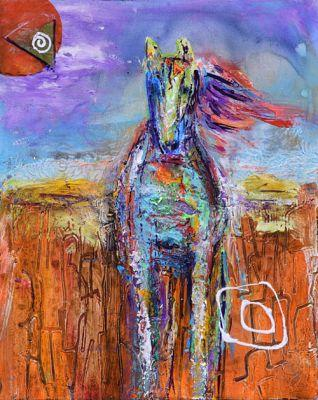 """Mixed Media Abstract Equine Art Painting """"The Guide"""" by Santa Fe Contemporary Artist Sandra Duran Wilson"""