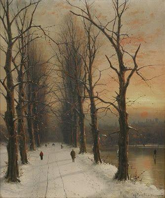 Nils Hans Christiansen, An Winter Landscape at Sunset