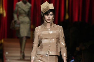 Kendall Jenner wears 'cardboard couture' in Moschino show