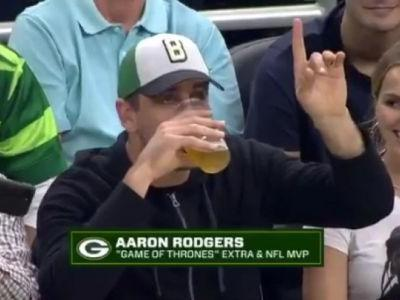 'Game of Thrones' extra and NFL MVP Aaron Rodgers lost a beer-chugging contest in embarrassing fashion to a teammate at NBA playoff game