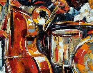 "Original Jazz Art Music Abstract Painting ""Bone Bass and Drums"" by Debra Hurd"