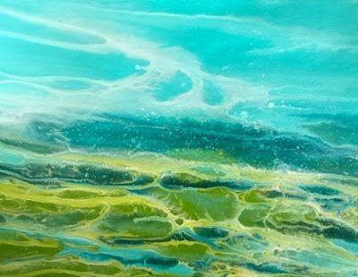 "Original Contemporary Seascape Painting, Coastal Art, Beach Painting, Caribbean Series ""Caribbean Splash II"" by International Contemporary Artist Kimberly Conrad"