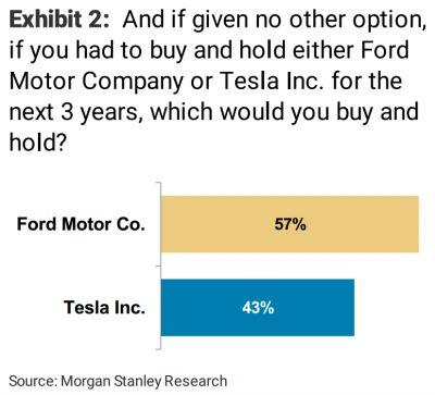 Morgan Stanley surveyed investors about Tesla and Ford, and the responses are bleak for Tesla