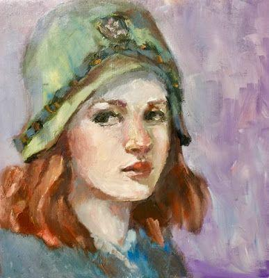 Ginny's Hat - original oil portrait painting