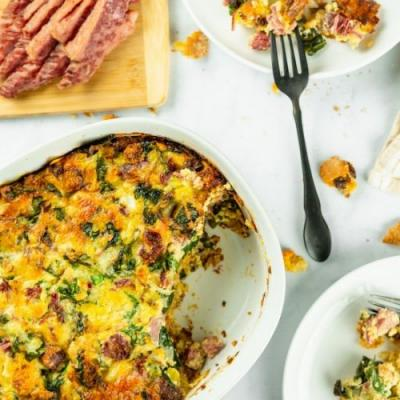 Corned Beef and Kale Strata