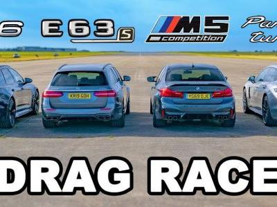 Watch Audi RS 6, Mercedes-AMG E63 S, BMW M5 Competition and Porsche Panamera Turbo S Drag Race