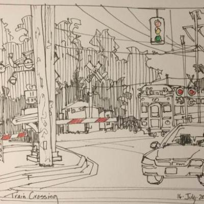 """Day 280 """"Train a Comin'"""" 7 x 9 pen & ink with pencil"""