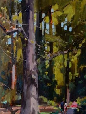 """Quiet Walk"" Seattle Arboretum, plein air painting by Robin Weiss"