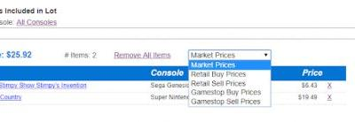 Use Gamestop Sell & Trade Prices in Lot Calculator