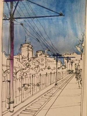 """""""Huntington Ave"""" ink and wc 9 x 5 Inktober and Childe Hassam"""