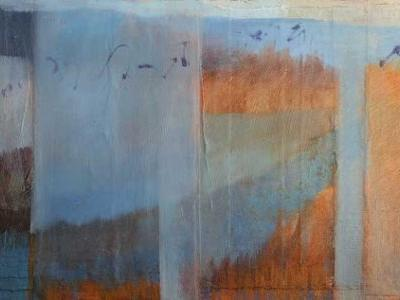 Contemporay abstract landscape inspired by new mexico's bosque del apache national wildlife refuge by dawn chandler
