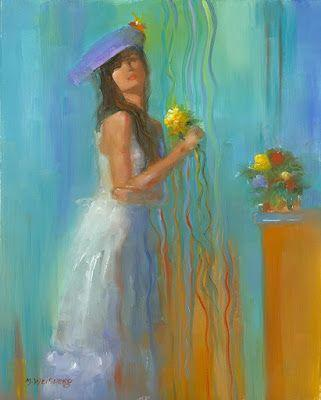 """Female Portrait Oil Painting """"Lady in Teal"""" by Illinois Artist Marilyn Weisberg"""