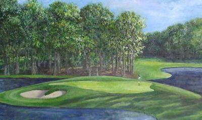 """Landscape Painting Golf Course """"THE 10TH AT MEADOWBROOK"""" by Florida Impressionism Artist Annie St Martin"""