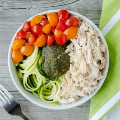 Pesto Chicken Zoodle Bowl