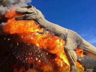 Jurassic spark? Animatronic T. rex bursts into flames