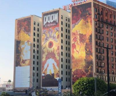 This year's E3 mural is Doom Eternal and oh my God E3 has started