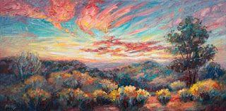New Mexico Sunset Panorama Painting by Niki Gulley