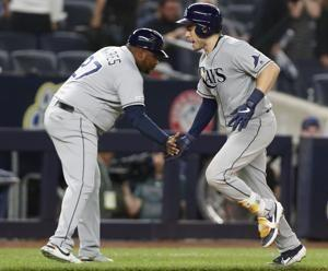Travis d'Arnaud hits 3 HRs, Rays rally to beat Yanks 5-4