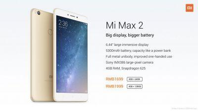 Xiaomi Mi Max 2 phablet with 6.44-inch display launched in China