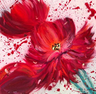 "Red Peony, Abstract Flower Painting, Splatter Painting, Fine Art Oil Painting, Vintage Floral ""Dress Code-RED"" by International Contemporary Artist Kimberly Conrad"