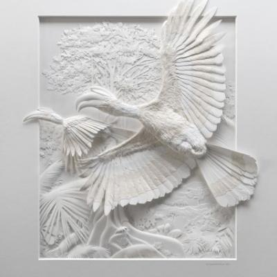 Intricate Paper Animals Spring from Textured Sculptures by Artist Calvin Nicholls
