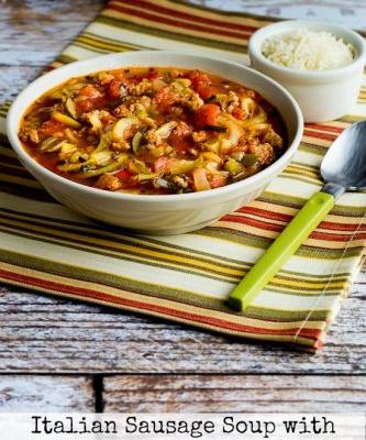 Low-Carb Italian Sausage Soup with Tomatoes and Zucchini Noodles