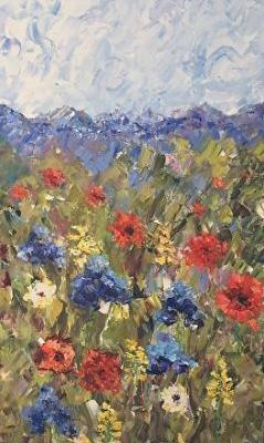 """Original Palette Knife Flower Landscape Painting """"Flowers on the Trail II"""" by Colorado Impressionist Judith Babcock"""
