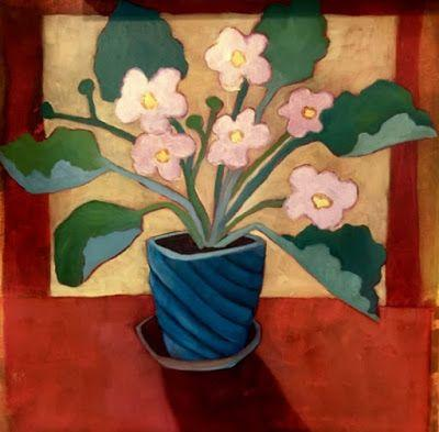 """Contemporary Expressionist Still Life Art Painting ,Flowers, Floral Art """"Little Pink Violets"""" by Santa Fe Artist Annie O'Brien Gonzales"""