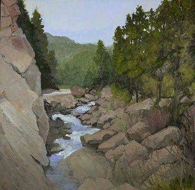 "Colorado Landscape Oil Painting, Rocky Mountains, Creek ""WATER BOULDERS AND PINES"