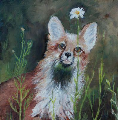 "Fox Painting, Wild Life. Nature Art, Fine Art For Sale ""Wildflower"" by Colorado Artist Nancee Jean Busse, Painter of the American West"