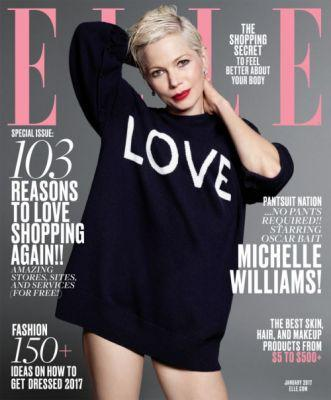 Michelle Williams for ELLE January 2017In ELLE's January