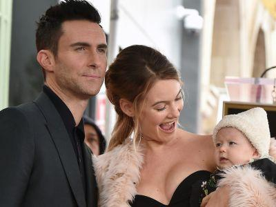 This Pic of Adam Levine's Daughters Watching His Halftime Show Will Warm Your Soul