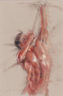 Male nude figure shooting - drawing on paper