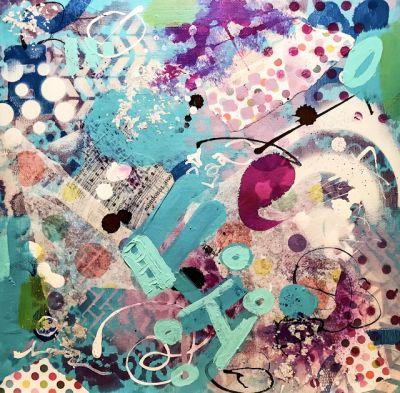 """Cotton Candy"" Original Modern Contemporary Mixed Media Abstract Painting Art by Lisa Kreymborg"