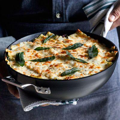 Pancetta and Chard Skillet Lasagna with Sage