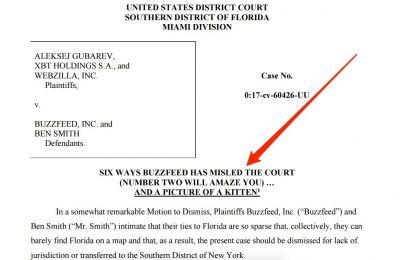 This court filing against Buzzfeed mocks the website's reputation for listicles and clickbait